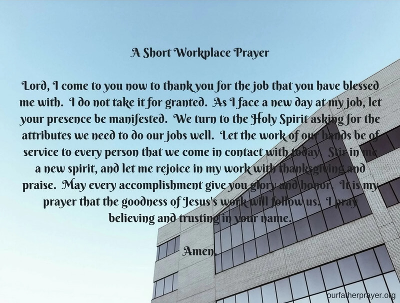 Prayers for the Workplace and Coworkers ⋆ Our Father Prayer