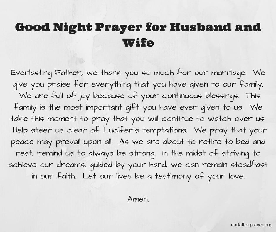 Good Night Prayer for Husband and Wife