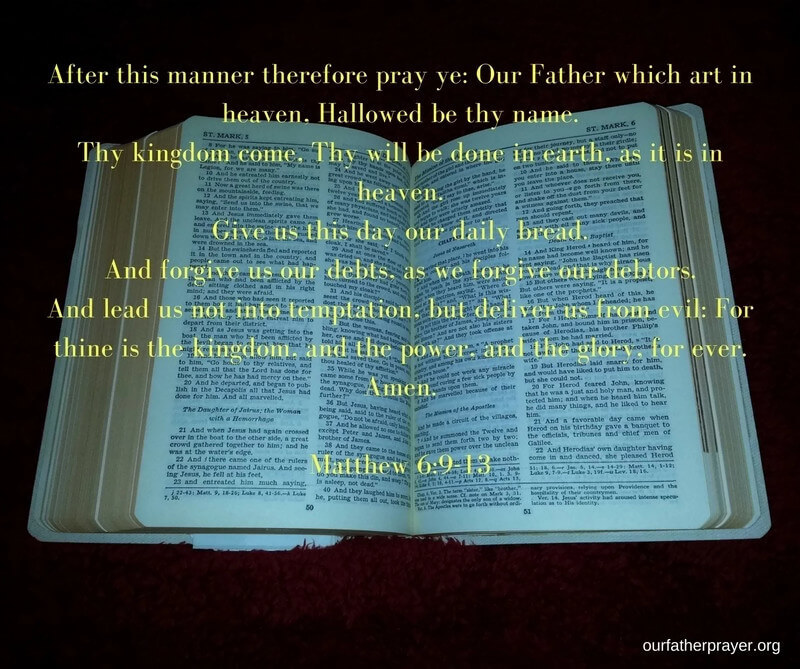 the our father prayer in the bible matthew 6:9-13