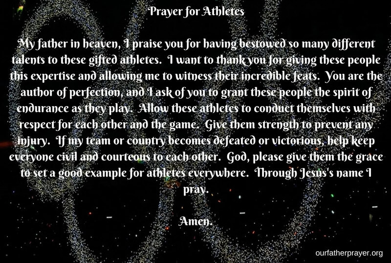 Prayers for athletes
